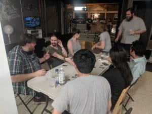 Social deduction and lighter family weight games proved very popular at the Bits and Boards game night at EZY mode.