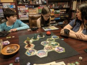 Family game night, sitting down with the entire family to play Talisman: Legendary Tales from Pegasus Spiele