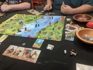 Raiders of the North Sea the board game from Renegade Games being played at a local game store.