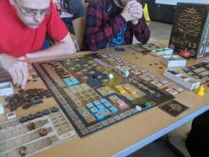 I taught the board game Gentes by TMG at Queen City Conquest