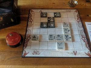 A mid game shot of the board game Jarl, an updated version of The Duke
