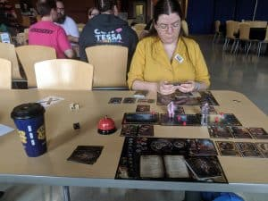 Playing Sorcerer by White Wizard games two player at QCC