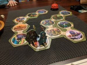 A game of Talisman Legendary Tales being played. This family board game is by Pegasus Spiele