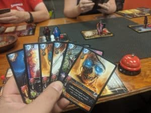My hand, mid game, from the card game Sorcerer from White Wizard Games.