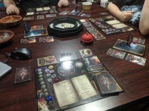 A three player battle royal in Sorcerer the card game from White Wizard Games.