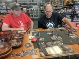 Playing the card game Sorcerer from White Wizard Games at the Friendly Local Game Store.