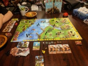 A learning game of Raiders of the North Sea with my Wife. She really loved this boardgame.