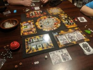 A three player game of the board game Dead Man's Cabal from Pandasaurus Games.