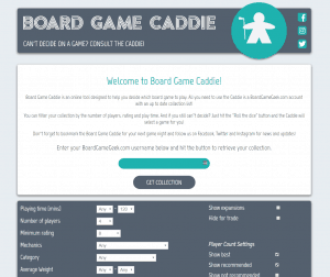 A screen shot of the website boardgamecaddie.com