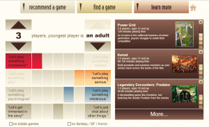 A screenshot from the board game selection website pick-a-game.com