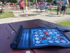 Zeenteeko is the perfect board game to bring to the beach or a splash pad due to being water resistant.