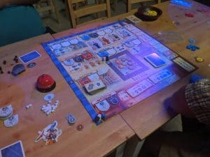 Playing the board game Bastille from Queen Games.