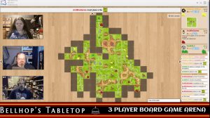 Carcassonne three players being live streamed on Twitch.