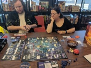 A shot from a three player game of the board game Tyrants of the Underdark
