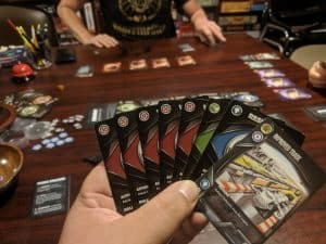 Playing the card game Eminent Domain from Tasty Minstrel Games
