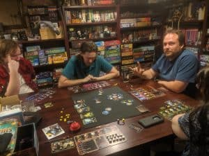 Playing a five player game of the board game Horizons from Daily Magic Games