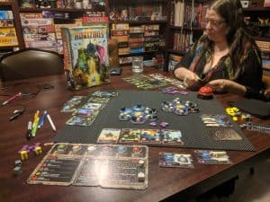 A two player game of the board game Horizons in progress.