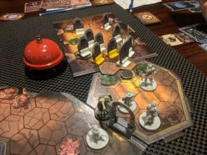 The final brutal room of scenario #26 in the board game Gloomhaven.