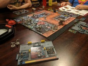 A mid game shot of Zombicide: Invader.