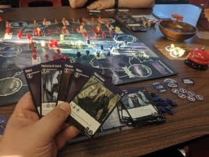 Playing Tyrants of the Underdark the D&D themed deck-building game, at The CG Realm my FLGS.