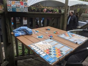 Azul set up on the patio at the Szusz wedding.