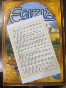 The board game Egizia with a great rules reference I found online.