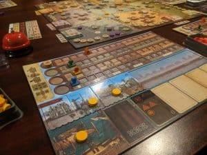A picture of the board game Endeavor Age of Sail featuring the kickstarter exclusives.