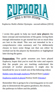 The cover of the how to teach Euphoria Guide.