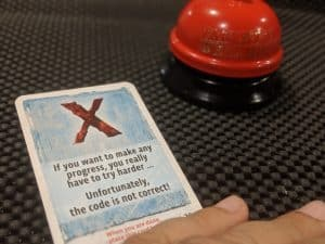 This is the card you don't want to see when playing an Exit The Game escape room in a box.