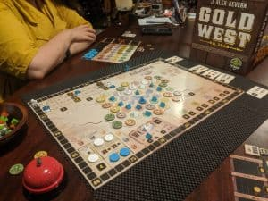 The end of a two player game of Gold West from Tasty Minstrel Games