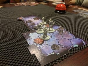 Early in a game of Gloomhaven. Playing scenario 16 Mountain Pass