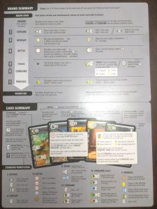 The two sided player boards that come with the card game Race for the Galaxy.