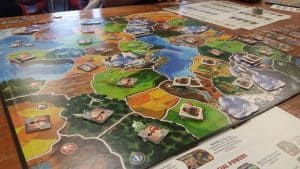 A rather old picture of the board game Small World a great gateway area-control game
