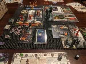 Cthulhu Death May Die the board game from CMON being played.