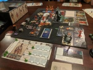 Cthulhu Death May Die set up and ready to play.
