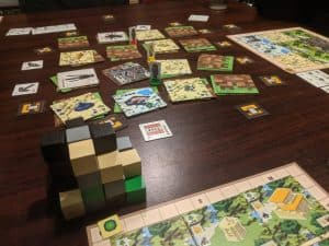Playing Minecraft Builders & Biomes the Minecraft Board Game from Ravensburger