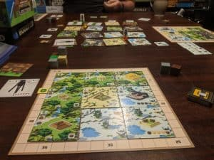 Nearing the end of a game of Minecraft Builders & Biomes a Minecraft board game from Ravensburger.