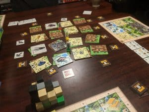 Playing the board game Minecraft Builders & Biomes with three players.