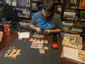 Tori getting ready for a Gloomhaven solo scenario featuring the Music Note class.