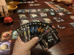 A very full hand of cards during a game of Eminent Domain with Escalation.
