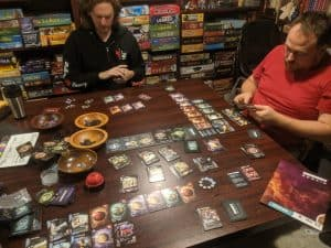 A three player game of Eminent Domain using the Escalation Expansion.