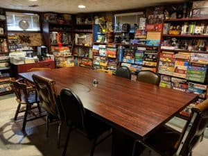 A room full of games with no one to play them.