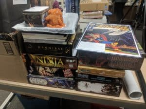Donating unwanted board games and RPGs to a school or library.