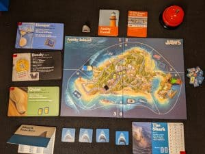 The bits you need for act 1 of Jaws the board game.