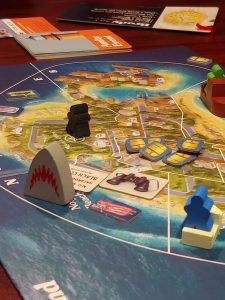 Playing Jaws the boardgame from Ravensburger and Prospero Hall.