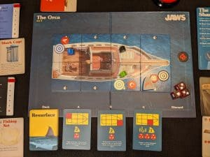 The first round of shark attacks in Jaws the board game. Act 2.