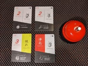 The four different cards in the Combat deck in Katana the Samurai Card Game