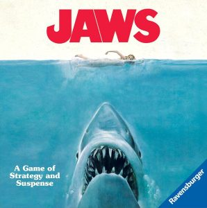 Box cover for Jaws the board game.