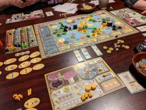 The board game Terra Mystica being played.