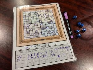 The end of a two player game of Roll for Lasers
